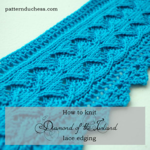 how to knit diamond of the island lace edging