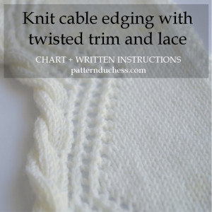 how to knit cable trim edge