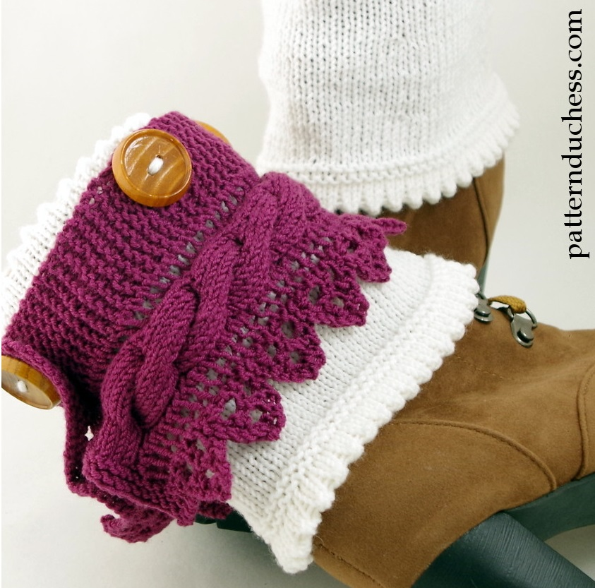 Free Baby Cardigan Knitting Pattern : Boot Cuffs Pattern With Buttons And Lace Pattern Duchess