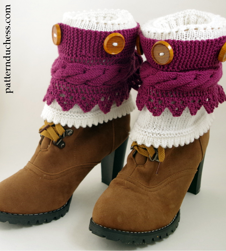 Knit Pattern For Boot Cuffs Free : Boot Cuffs Pattern With Buttons And Lace Pattern Duchess
