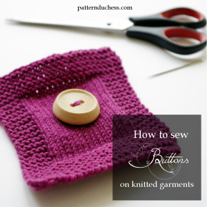 how to sew a button on a knitted garments