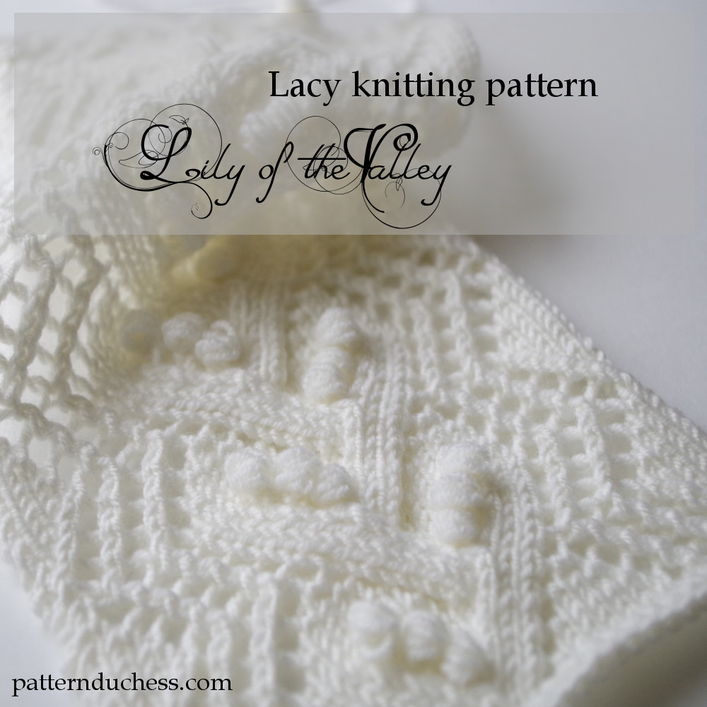 "Knitted lace pattern with ""nupps"""
