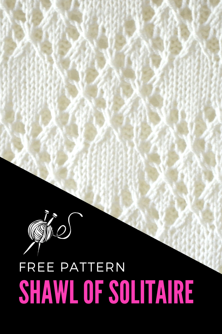 Beautiful knitted lace scarf pattern with diamond stitch pattern with written instructions, chart and video tutorial.