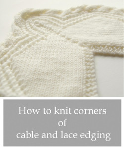 how to knit corner of cable and lace mitered corners