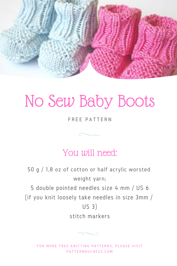 No sew knitted baby booties pattern | Pattern Duchess