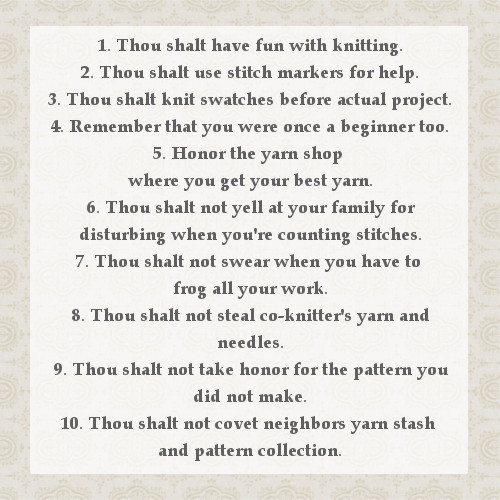 Knitters 10 commandments
