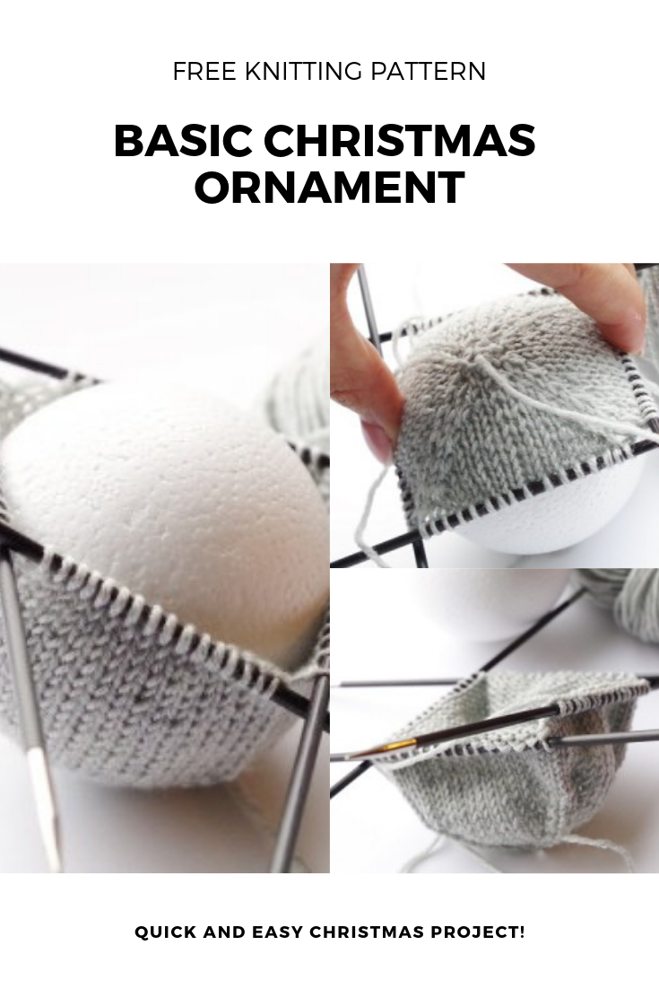 Knitting pattern for basic Christmas ball ornament | Pattern Duchess