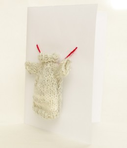 DIY Christmas card with knitted mini sweater