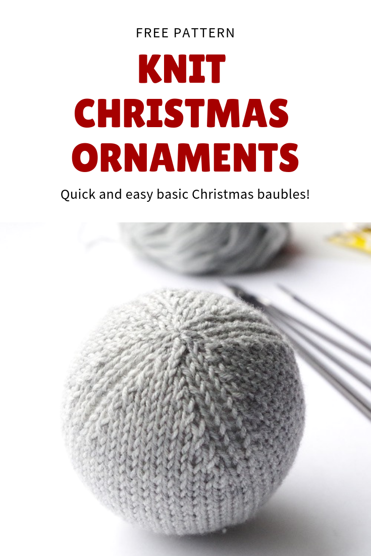 Free knitting pattern for quick and easy Christmas ornaments. Knitted in rounds with round by round instructions. #christmasknits #knittedgifts #freepattern