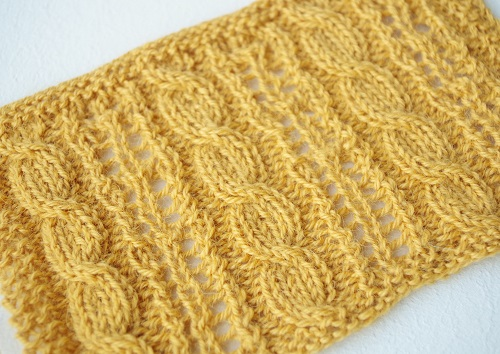 Knit lace and cable stitch pattern - year unknown