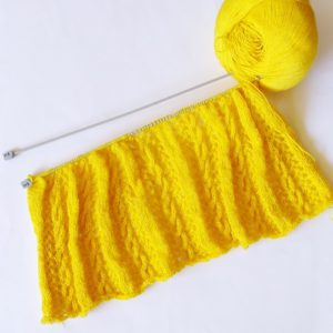 Work in progress knit yellow summer boncho