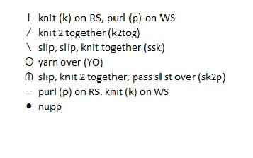 Chart key for Weekend Scarf