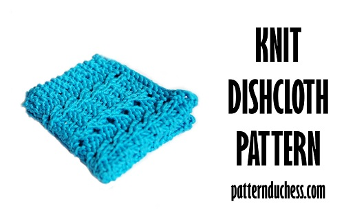 Knit dishcloth free pattern - easy knitting pattern for beginner lace knitters