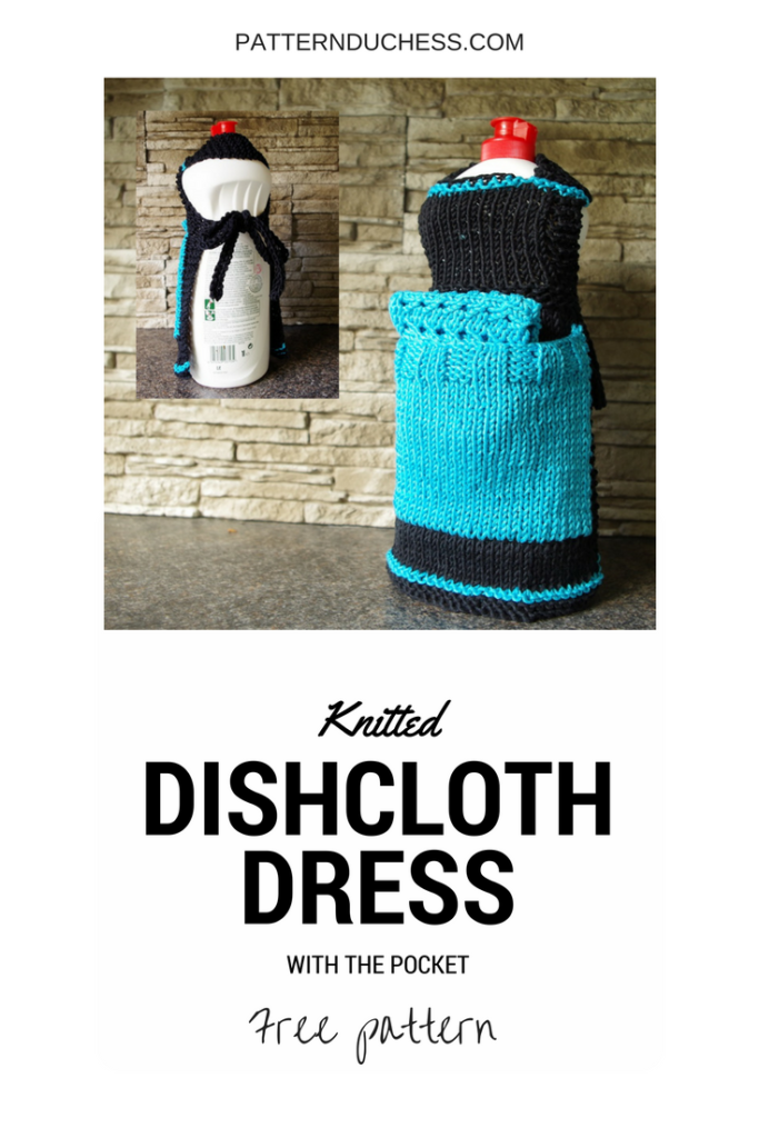 Knitted dishcloth dress or apron free knitting pattern from patternduchess.com