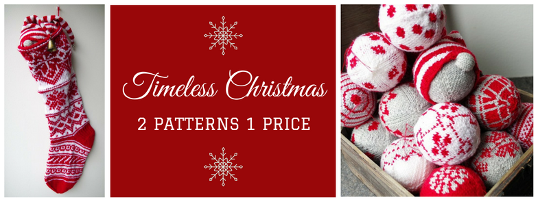 "Knitting pattern ""Timeless Christmas"" Christmas stocking + Christmas Bauble Ornaments"