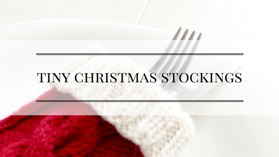 Knitting pattern for a tiny Christmas stocking for a Christmas table setting