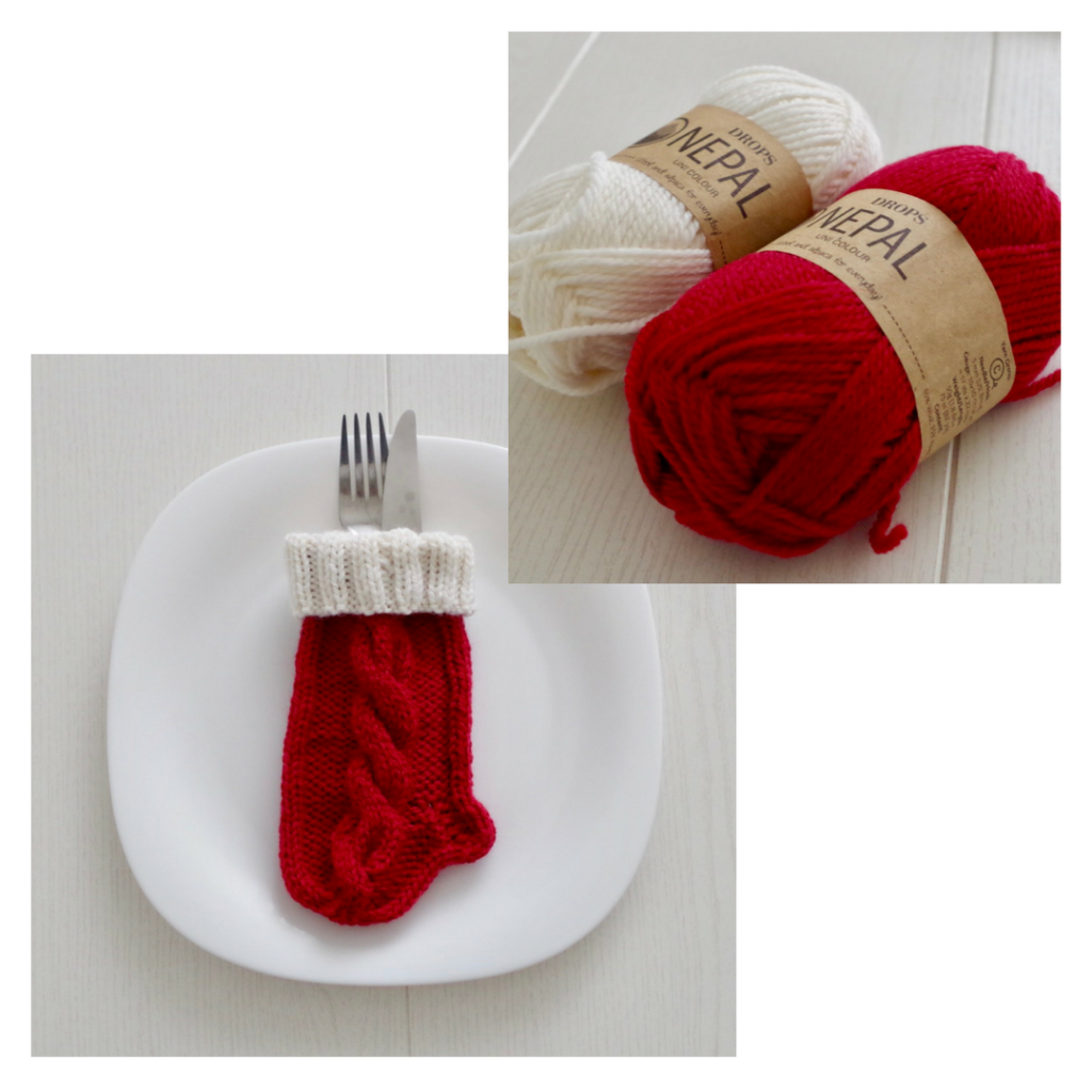 Easy knitting pattern for tiny cabled Christmas stockings to use on your Christmas table setting